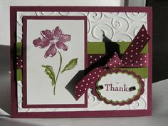 Stamps: Heartfelt Thanks  Paper: Old Olive, Razzleberry, Whisper White  Ink: Old Olive, Razzleberry  Accessories: ribbon