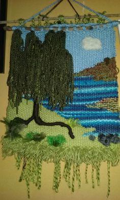 Arbol 4 Weaving Wall Hanging, Weaving Art, Tapestry Weaving, Loom Weaving, Macrame Patterns, Knitting Patterns, Rope Art, Weaving Projects, Crochet Art