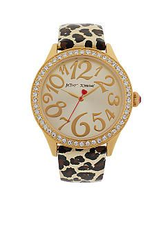 Betsey Johnson Gold Tone Case with Leopard Printed Leather Strap Watch #belk #accessories