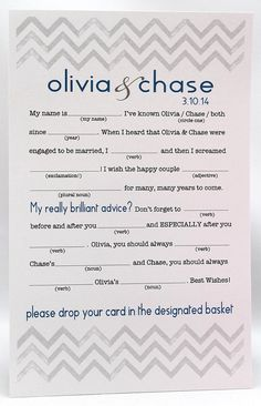 Mad lib, fun activity to keep guests busy and entertained at wedding, good idea in lieu of a traditional guestbook, paper ideas for wedding
