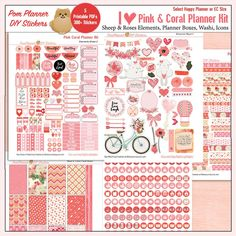 Planner Kit Printable Stickers Kit in Pink & Coral  Roses image 4