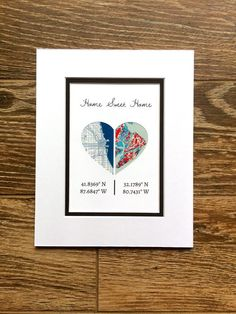 Home Sweet Home -Personalized Map Art- First Anniversary or Wedding Gi – Paper'd Moments