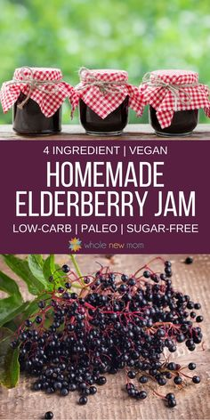 "Super Easy Homemade Elderberry Jam Recipe with low carb & sugar free options - a super tasty way to get healthy fast or keep the ""bugs"" at bay! Make this Easy Elderberry Jelly and feel better fast! Elderberry Jelly Recipe, Elderberry Jam, Jelly Recipes, Jam Recipes, Canning Recipes, Paleo Recipes, Diabetic Snacks, Healthy Snacks For Diabetics, Recipes"
