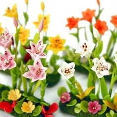 Miniature Polymer Clay Flowers for Dollhouse Lily Minigarden 4 pcs