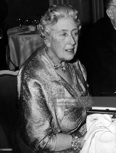 UNITED KINGDOM - OCTOBER 26: The British writer Agatha CHRISTIE, at the London Savoy Hotel, is participating to a party celebrating the 10th anniversary of a theatre play she wrote, THE MOUSETRAP