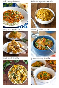6 Lentil Recipes (1. Red Curry Lentils, 2. Easy Red Lentil Dhal, 3. Creamy Thai Sweet Potatoes & Lentils, 4. Kabocha Squash Lentil Curry, 5.. Coconut Green Curry Lentils, 6. Thai Basil Coconut Lentils)
