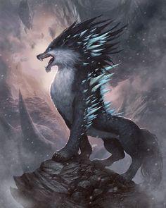 Fenrir Fantasy Wolf, Final Fantasy Art, Fantasy Beasts, Dark Fantasy Art, Fantasy Artwork, Monster Concept Art, Fantasy Monster, Monster Art, Mythical Creatures Art