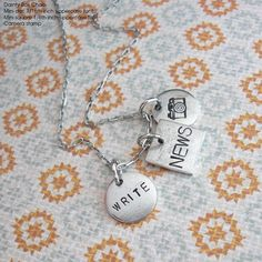 Write the News .. Mini Charm Necklace. Hand by TipsyWhimsey