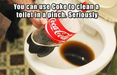 Coca cola for cleaning my toilet! Just imagine what it does to our insides! Previous Pinner said: Cleaning your toilet with coca cola will get out the nastiest stains! Also used Coke for cleaning soot off of the fireplace heat box, or outdoor grill. Household Cleaning Tips, Diy Cleaning Products, Cleaning Solutions, Cleaning Hacks, Coke Cleaning, Cleaning Agent, Cleaning Supplies, Toilet Cleaning, Household Cleaners