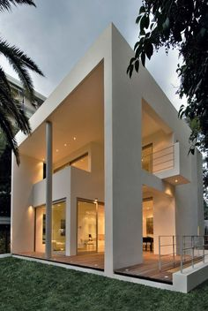 White contemporary custom-designed house.