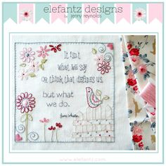 """""""What We Do"""" embroidery pattern (a Jane Austen quote). PDF download."""