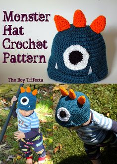 This little crochet hat should fit toddlers and young children. It fits both my and monsters. This little crochet hat should fit toddlers and young children. It fits both my and monsters. Crochet Hats For Boys, Crochet Baby Hats, Crochet Beanie, Free Crochet, Crochet Monster Hat, Crochet Monsters, Crochet Crafts, Crochet Projects, Crochet Hat Tutorial