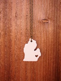 Custom Prideful Michigan Ceramic State Necklace: Notice there's no UP. That's for a good reason.