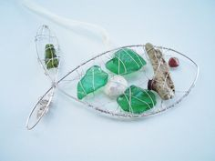 Genuine sea glass and shell suncatcher by HandmadeBeachCraft, $15.00