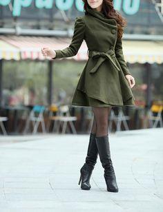 Army Green Long  Dress Spring Trench Coats Fashion Women Wool Windbreaker Coat Fitted Winter Cape Jacket-WH072 M,L,XL,XXL