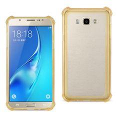 Reiko Samsung Galaxy J7 Transparent Tpu Case Clear Gold With Cushion Shock Absorption Technology