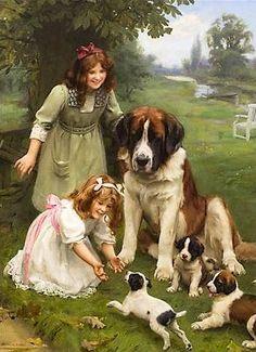 O pintor Arthur John Elsley Victorian Paintings, Victorian Art, Images D'art, St Bernard Dogs, Dog Art, Vintage Children, Art Children, Kids, Beautiful Paintings