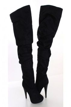 Black Faux Suede Thigh High Boots.  Yes I had these.  Enjoyed them with short skirts and dark hose.
