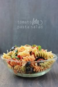 Tomato Feta Pasta Salad on MyRecipeMagic.com. This goes great with breadsticks or as a side dish to any meal!