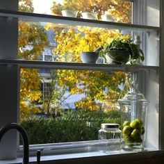Narrow shelves across kitchen window—perfect for mortar and pestle or potted plant