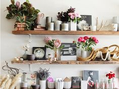 {New Year. Less Clutter}  These reclaimed open wood shelves are a gorgeous way to showcase and organize your most beautiful belongings. This display can be seen at Twig & Twine in L.A.'s Silver Lake.