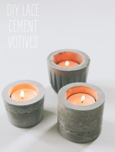 Make EASY cement votives with this tutorial AND 45 BEST Weekend Lifestyle DIY Tutorials EVER. DECOR, FURNITURE, JEWELRY, FOOD, WHIMSEY, PARTY from MrsPollyRogers.com