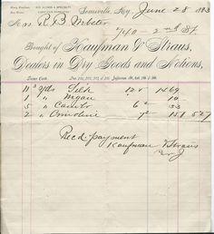1883 Billhead ~ Kaufman & Straus, Louisville KY Kentucky ~ Dry Goods & Notions