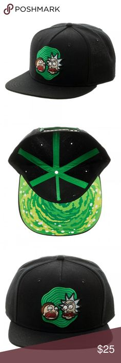 Rick and Morty Portal Under Bill Snapback Hat This is for 1 Rick and Morty themed snapback baseball adjustable hat.   This very nice hat is officially licensed from Bioworld.  It's black and features Rick and Morty with an open green portal behind them on the front.  Underneath the bill is a green portal as well.  This hat is size adjustable.   Style: Snapback Hat  Size:  Adult Adjustable - One Size Fits Most Brand: Bioworld  CONDITION - New  Check my Posh for lots more Rick and Morty Items…