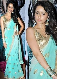 Custom Made Bollywood Outfits :: Shraddha Kapoor in Turquoise/Sky Blue Saree with Gold Floral Motifs (Aashiqui - Inspiration Couture Bollywood Designer Sarees, Designer Sarees Online, Bollywood Saree, Bollywood Fashion, Bollywood Outfits, Saree Fashion, Indian Bollywood, Bollywood Celebrities, Bollywood Actress