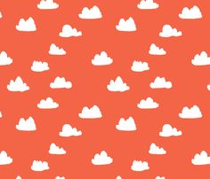 Clouds - Coral fabric by papersparrow on Spoonflower - custom fabric