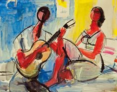 Zygmunt Menkes (Polish, 1896-1986)  Woman and man with guitar
