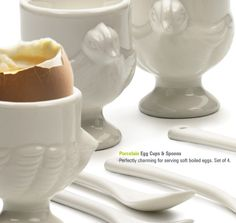 I do wish I liked soft boiled eggs because I'd use these cute porcelain egg cups! Perhaps I can make a decadent dessert in them instead? Custard perhaps?