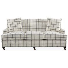 """Maxfield 75"""" Sofa Blue Plaid Sofas & Loveseats ($3,395) ❤ liked on Polyvore featuring home, furniture, sofas, systems furniture, blue furniture, plaid sofa, plaid couch and blue loveseat"""