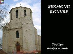 79GERMOND-ROUVRE_eglise. -1) PATRIMOINE DE GATINE, ATEMPORELLE  (Germond):  Le prieuré St-Médard de l'ordre de Saint-Augustin relevait de l'abbaye de Celles. Les bâtiments claustraux étaient en ruine dès le début du XVII°s. La mairie et la bibliothèque actuelles s'élèvent sur les vestiges du prieuré. La salle du conseil conserve d'ailleurs une cheminée peu profonde, en bois, d'époque Louis XIV, peinte en trompe l'œil de divers motifs floraux.