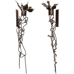 Albert Paley Style Patinated Metal Wall Lights | From a unique collection of antique and modern wall-mounted sculptures at https://www.1stdibs.com/furniture/wall-decorations/wall-mounted-sculptures/