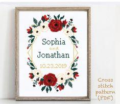 Wedding Cross Stitch Patterns, Modern Cross Stitch Patterns, Wedding Gifts For Friends, Cute Cross Stitch, Alphabet And Numbers, To Color, Print Patterns, Pattern Designs, Handmade Crafts
