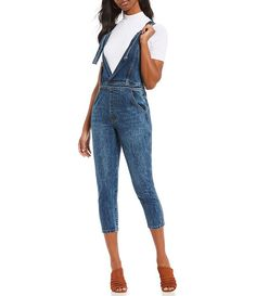 30ac7a8d8b19c2 Gianni Bini Linds Western Inspired Crop Denim Overalls Gianni Bini
