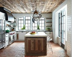 subway tile, dark grout and reclaimed wood panel ceiling with terra-cotta tiles. -Lovely