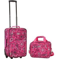 Rockland Luggage Rio 2 Piece Carry On Luggage Set, Multiple Colors, Pink Best Luggage, Luggage Sets, Travel Luggage, Cheap Luggage, Girls Luggage, Pink Luggage, Travel Tote, Lightweight Carry On Luggage, Rockland Luggage