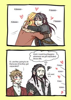 LOL, those boys are just too adorable together!   Drawn by Livefreedieyoung ...  Kili, dwarf, The Hobbit, Tolkien, Bilbo Baggins, Thorin Oakenshield, Fili, Bilbo, Thorin, hobbit