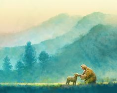 Little One is a painting that depicts Jesus Christ comforting one of his lost sheep - Yongsung Kim Images Of Christ, Pictures Of Jesus Christ, Holy Art, Site Art, Christian Artwork, Christian Artist, Jesus Painting, Paintings Of Christ, Lds Art