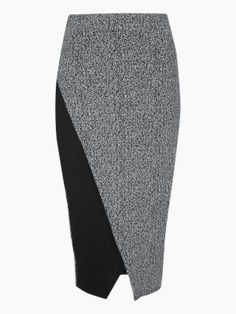 A modern take on tweed, this gorgeous tweed pencil skirt is sure to steal the show! Featuring an elasticated waist, wrap front with contrast panel and monochrome tweed fabric. Team this statement skirt with a high neck blouse and court shoes for a look th Pencil Skirt Work, Tweed Pencil Skirt, Pencil Skirts, Tweed Skirt, Unique Outfits, Cute Outfits, By Any Means Necessary, Office Skirt, Manequin