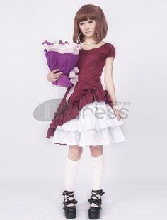 Lolita Dresses / Cotton Short Sleeves Ruffle Bow Classic Lolita Dress / http://www.thdress.com/Cotton-Short-Sleeves-Ruffle-Bow-Classic-Lolita-Dress-p1255.html