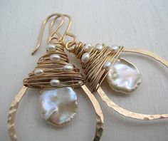 Gold Keshi Pearl Leaf Hoop Earrings by SarahHickeyJewellery. Organic cornflake keshi pearl encircled by hand forged leaf hoop and topped with fresh water pearls. The hoop is hand formed, lightly hammered and polished. from Ear Pearl Jewelry, Wire Jewelry, Jewelry Crafts, Beaded Jewelry, Gold Jewelry, Jewellery, Jewelry Necklaces, Beaded Earrings, Pearl Earrings