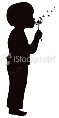 Boy blowing dandelion flower seeds silhouette Royalty Free Stock Vector Art Illustration