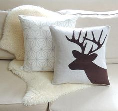 Deer Pillow Cover  Chocolate Brown Corduory Applique
