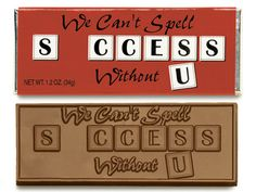We can't spell success without U - Chocolate Wrapper Bar