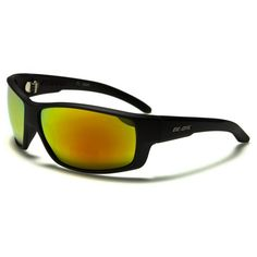 BeOne Mens Wrap Sports Polarized Sunglasses Black with Yellow Lenses