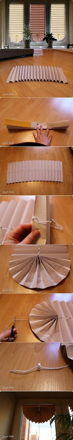 Make a Fan Curtain by papers - Easy Way ToMake a Fan Curtain by papersYou Should also see :Make an Ottoman By Recycling Plastic BottleBook : P.S. I Made This!Make your home stylish from the floor to ceiling with a freshly painted feeling!Make a