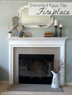 Fireplace Mantle, Fireplace Surrounds, Fireplace Design, Modern Fireplace, Above Fireplace Decor, Paint Fireplace Tile, Tile Around Fireplace, Faux Mantle, Propane Fireplace
